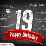 Komplimente und Sprüche zum 19. Geburtstag auf Tafel geschrieben