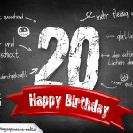 Komplimente und Sprüche zum 20. Geburtstag auf Tafel geschrieben