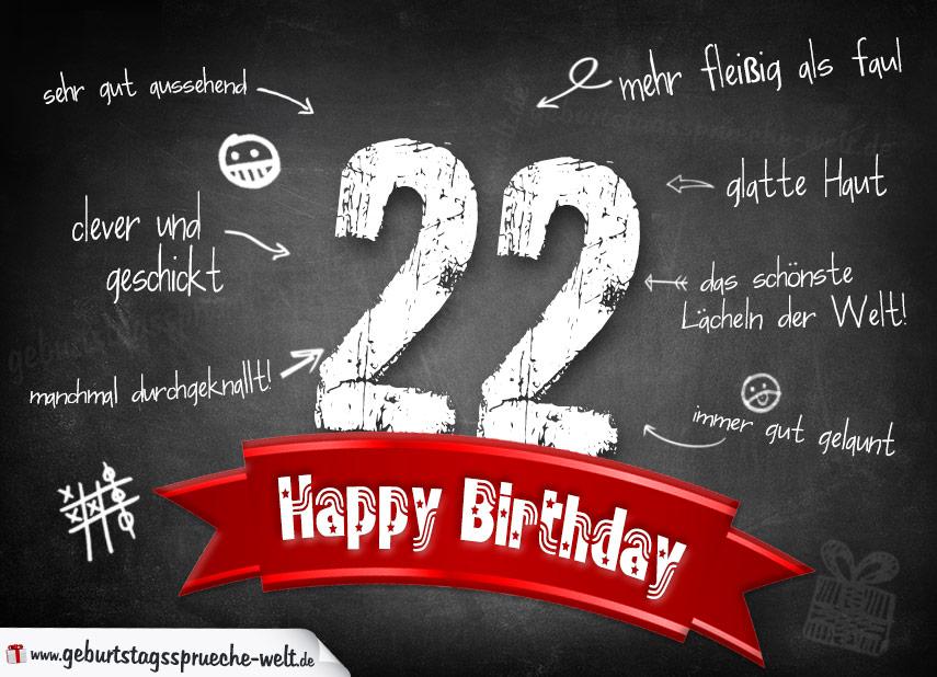 22 geburtstag sprüche Komplimente Geburtstagskarte zum 22. Geburtstag Happy Birthday  22 geburtstag sprüche