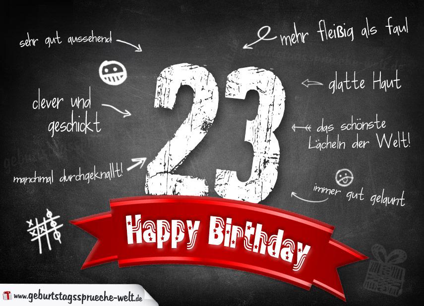 23 Geburtstag Geburtstagswunsche Mit Schild Und Alter Auf Karte