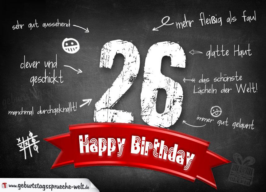 Komplimente Geburtstagskarte zum 26. Geburtstag Happy Birthday