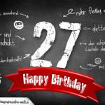 Komplimente und Sprüche zum 27. Geburtstag auf Tafel geschrieben