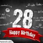 Komplimente und Sprüche zum 28. Geburtstag auf Tafel geschrieben