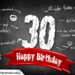 Komplimente und Sprüche zum 30. Geburtstag auf Tafel geschrieben