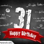 Komplimente und Sprüche zum 31. Geburtstag auf Tafel geschrieben