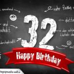 Komplimente und Sprüche zum 32. Geburtstag auf Tafel geschrieben
