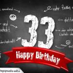 Komplimente und Sprüche zum 33. Geburtstag auf Tafel geschrieben