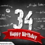 Komplimente und Sprüche zum 34. Geburtstag auf Tafel geschrieben