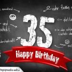Komplimente und Sprüche zum 35. Geburtstag auf Tafel geschrieben