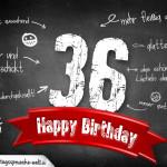 Komplimente und Sprüche zum 36. Geburtstag auf Tafel geschrieben