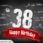 Komplimente und Sprüche zum 38. Geburtstag auf Tafel geschrieben