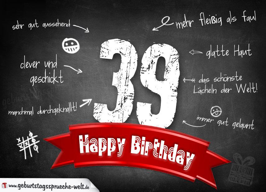 Komplimente Geburtstagskarte zum 39. Geburtstag Happy Birthday - Geburtstagssprüche-Welt