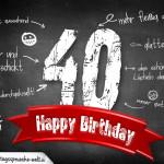 Komplimente und Sprüche zum 40. Geburtstag auf Tafel geschrieben