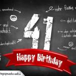 Komplimente und Sprüche zum 41. Geburtstag auf Tafel geschrieben