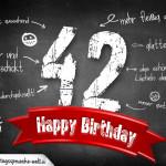 Komplimente und Sprüche zum 42. Geburtstag auf Tafel geschrieben
