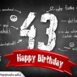Komplimente und Sprüche zum 43. Geburtstag auf Tafel geschrieben