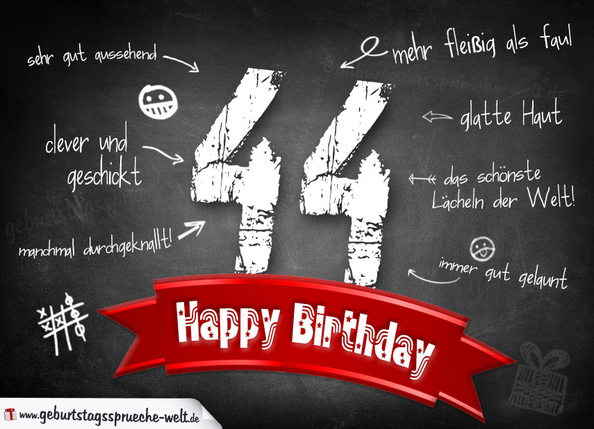Komplimente Geburtstagskarte Zum 44 Geburtstag Happy