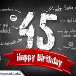 Komplimente und Sprüche zum 45. Geburtstag auf Tafel geschrieben