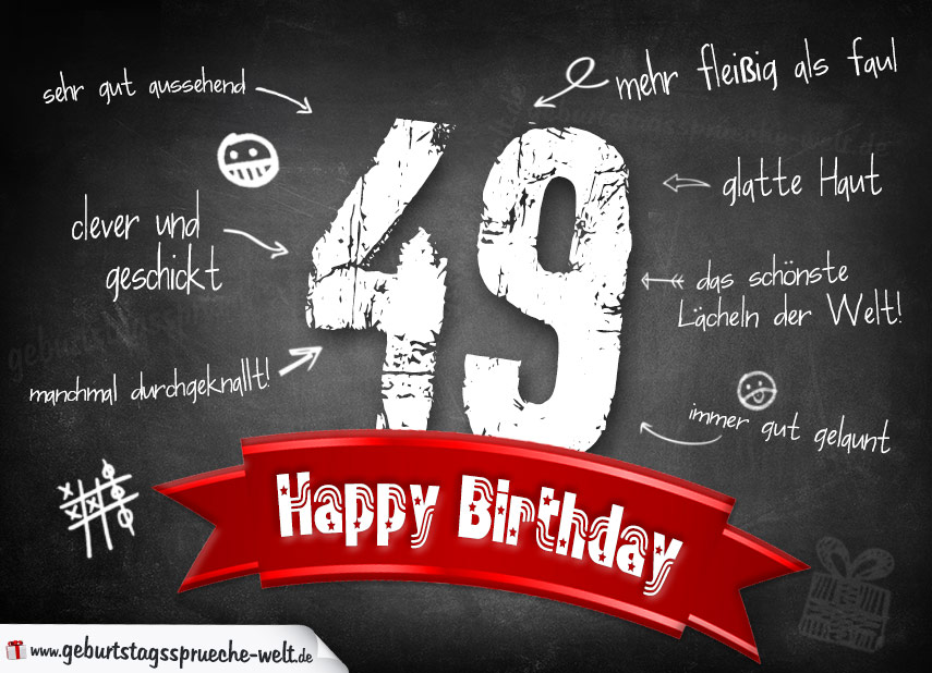 Komplimente Geburtstagskarte Zum 49 Geburtstag Happy Birthday