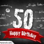 Komplimente und Sprüche zum 50. Geburtstag auf Tafel geschrieben