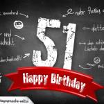 Komplimente und Sprüche zum 51. Geburtstag auf Tafel geschrieben
