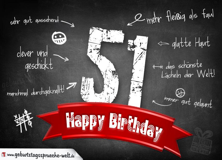 Komplimente Geburtstagskarte Zum 51 Geburtstag Happy Birthday