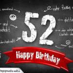 Komplimente und Sprüche zum 52. Geburtstag auf Tafel geschrieben
