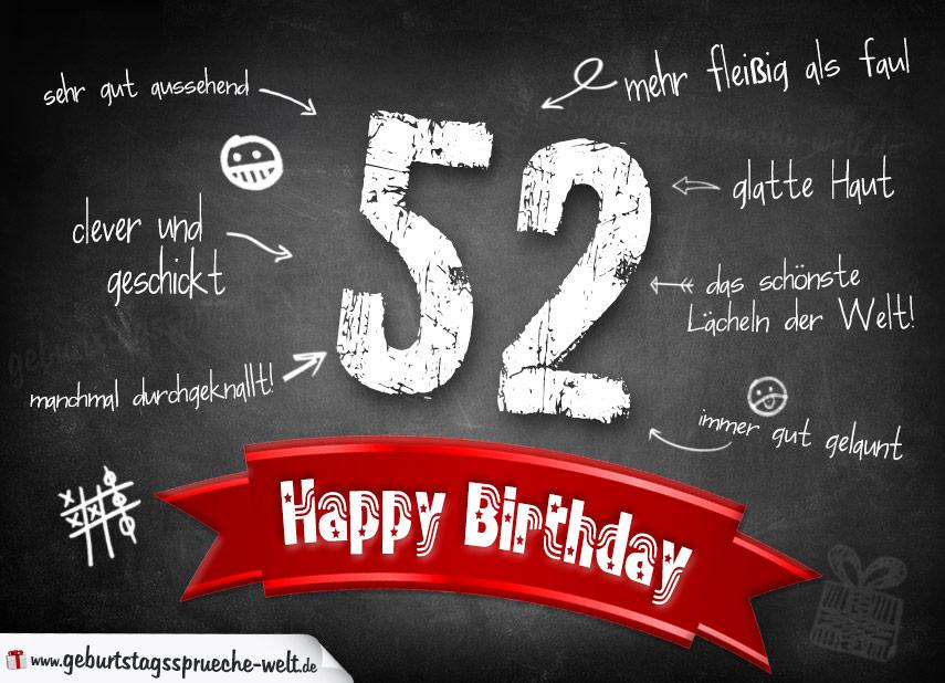 Komplimente Geburtstagskarte Zum 52 Geburtstag Happy