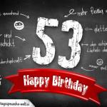 Komplimente und Sprüche zum 53. Geburtstag auf Tafel geschrieben