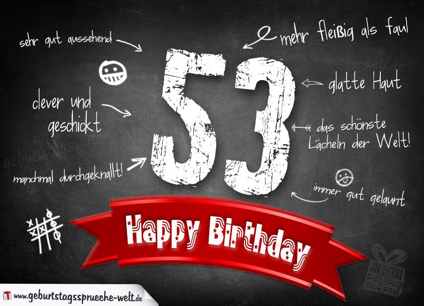 Komplimente Geburtstagskarte zum 53. Geburtstag Happy Birthday