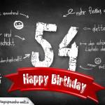 Komplimente und Sprüche zum 54. Geburtstag auf Tafel geschrieben