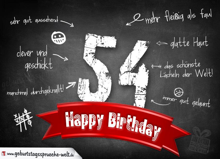 Komplimente Geburtstagskarte zum 54. Geburtstag Happy Birthday