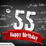 Komplimente und Sprüche zum 55. Geburtstag auf Tafel geschrieben