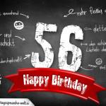 Komplimente und Sprüche zum 56. Geburtstag auf Tafel geschrieben
