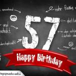 Komplimente und Sprüche zum 57. Geburtstag auf Tafel geschrieben