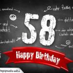 Komplimente und Sprüche zum 58. Geburtstag auf Tafel geschrieben