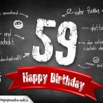 Komplimente und Sprüche zum 59. Geburtstag auf Tafel geschrieben
