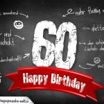 Komplimente und Sprüche zum 60. Geburtstag auf Tafel geschrieben
