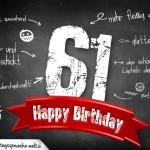 Komplimente und Sprüche zum 61. Geburtstag auf Tafel geschrieben