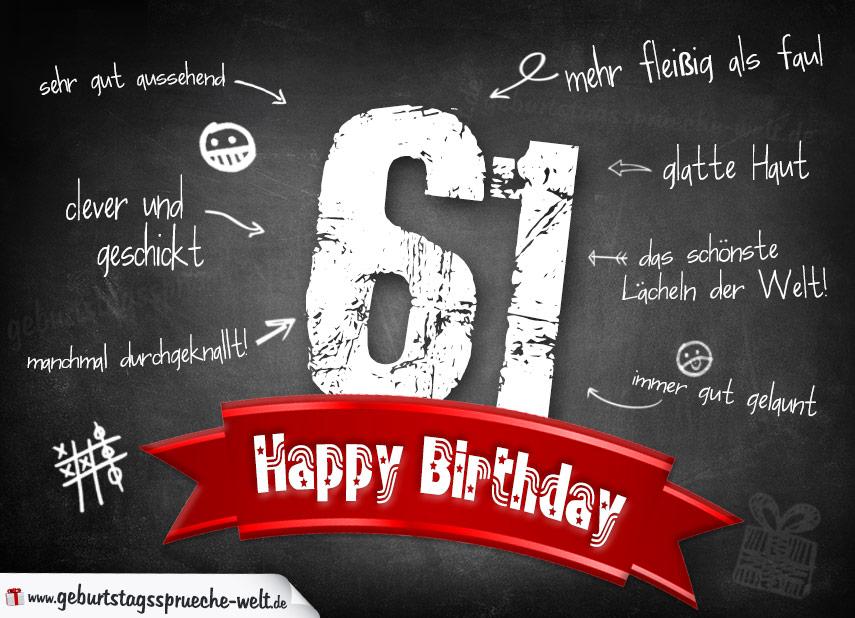 Komplimente Geburtstagskarte zum 61. Geburtstag Happy Birthday - Geburtstagssprüche-Welt