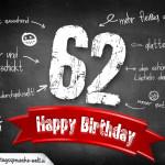 Komplimente und Sprüche zum 62. Geburtstag auf Tafel geschrieben