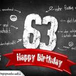 Komplimente und Sprüche zum 63. Geburtstag auf Tafel geschrieben