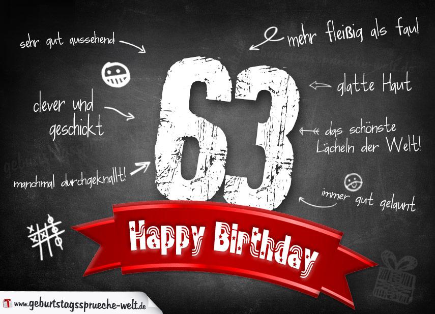 Komplimente Geburtstagskarte zum 63. Geburtstag Happy Birthday