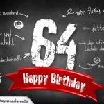 Komplimente und Sprüche zum 64. Geburtstag auf Tafel geschrieben