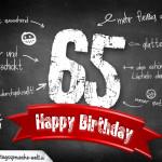Komplimente und Sprüche zum 65. Geburtstag auf Tafel geschrieben