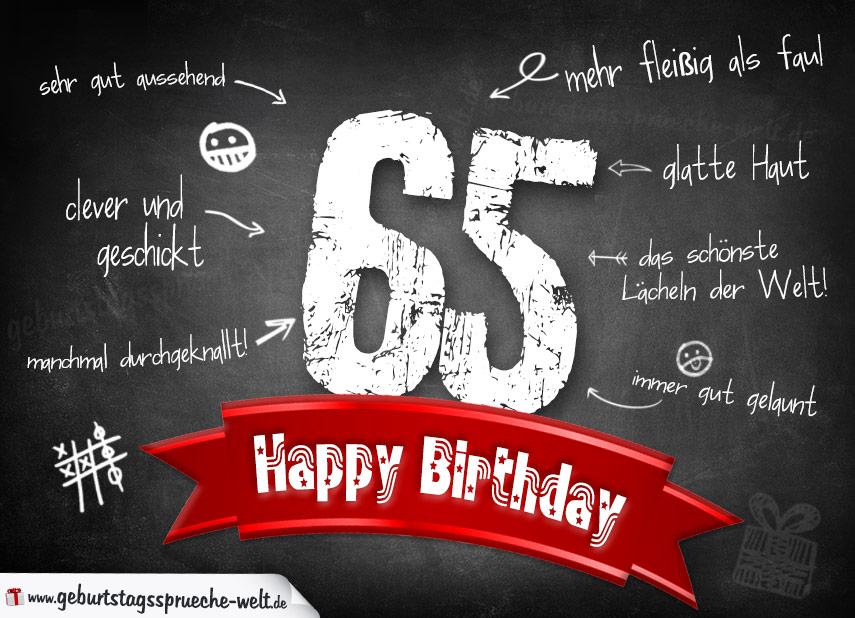 Komplimente Geburtstagskarte Zum 65 Geburtstag Happy Birthday