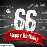 Komplimente und Sprüche zum 66. Geburtstag auf Tafel geschrieben