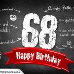 Komplimente und Sprüche zum 68. Geburtstag auf Tafel geschrieben