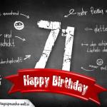 Komplimente und Sprüche zum 71. Geburtstag auf Tafel geschrieben