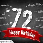Komplimente und Sprüche zum 72. Geburtstag auf Tafel geschrieben